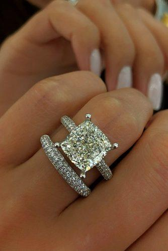 cushion cut engagement rings solitaire diamond wedding set