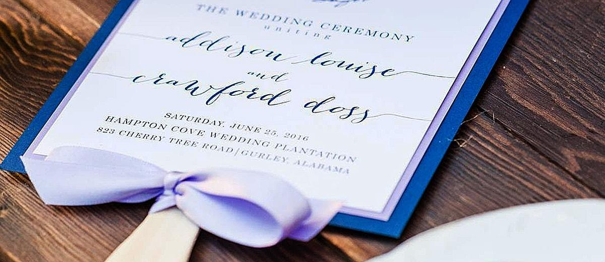 Diy Wedding Program Fans Blue Stylish Featured