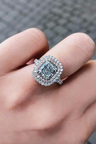emerald cut engagement rings double halo blue diamond pave band