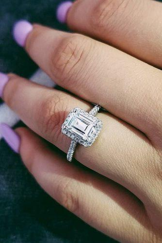 emerald cut engagement rings halo diamond pave band
