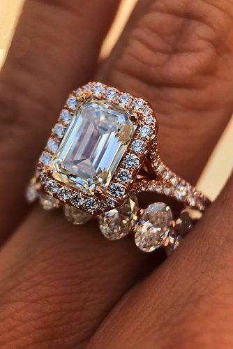 emerald cut engagement rings halo split rose gold set