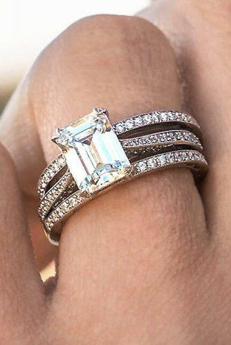 emerald cut engagement rings rose gold pave band modern solitaire
