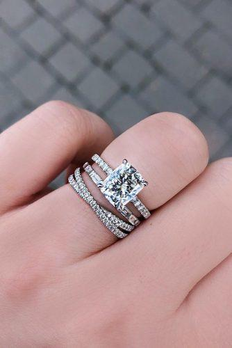 emerald cut engagement rings solitaire set modern band pave band diamond