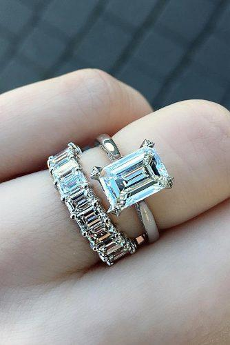 emerald cut engagement rings solitaire wedding set white gold simple