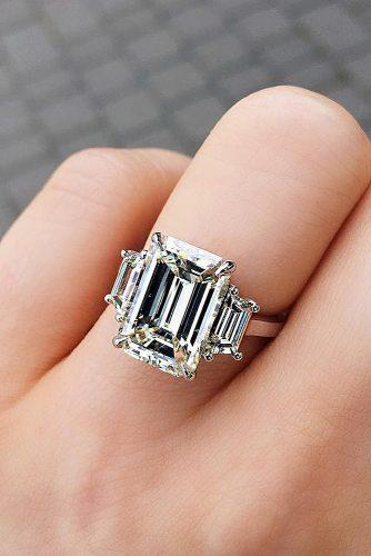 emerald cut engagement rings three stones diamond white gold simple