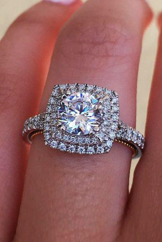 engagement ring inspiration double halo white gold beautiful split pave band