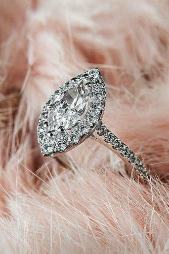 engagement ring inspiration marquise cut diamond halo pave band white gold