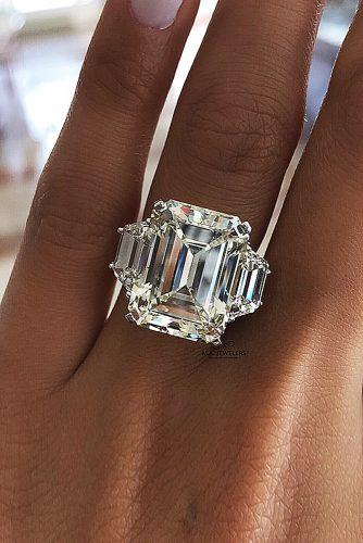 engagement ring inspiration radiant cut diamond three stones gold