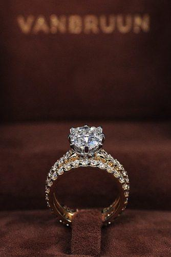engagement ring inspiration round cut diamond pave band set