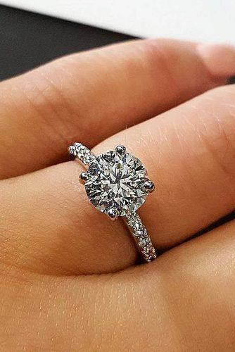 engagement ring inspiration round cut diamond solitaire pave band gold engagement rings