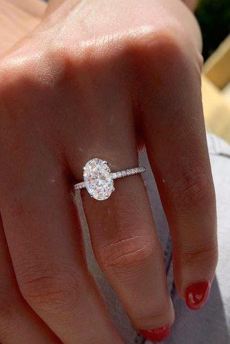 engagement ring shapes solitaire diamond oval cut pave band
