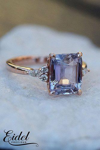 gold engagement rings rose gold sapphire solitaire radiant cut