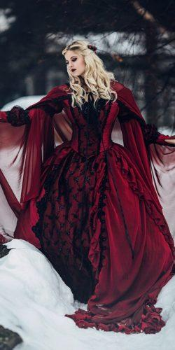 gothic wedding dresses red and black ball gown victioran devil instagram