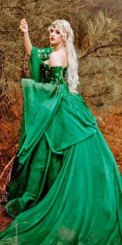 green ball gown off the shoulder long sleeve medieval wedding dresses shelbyrobinsonartistry