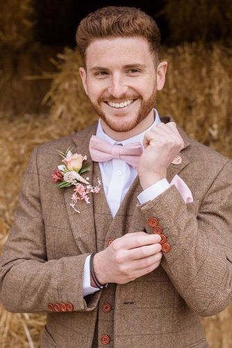 groom suits lumberjack jacket barn with bow tie bouttoniere sarah brookes photography