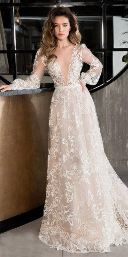 lace a line deep plunge neckline long sleeve riki dalal wedding dresses 2019