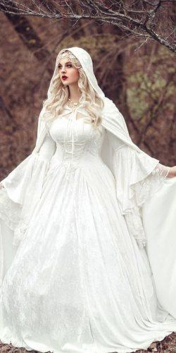 medieval wedding dresses ball gown lace sweetheart neck with princess capes long sleeve romanticthreads