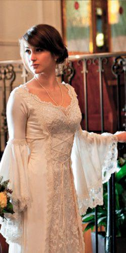 medieval wedding dresses irish a line lace scoop neckline long sleeve hand beaded katherinefeiel