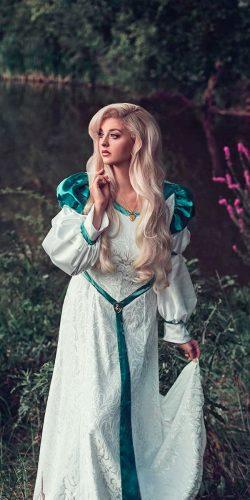 medieval wedding dresses traditional irish lace straight long sleeve with green elements bernadettenewberry