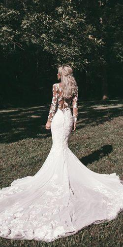 mermaid lace illusion backless long sleeve with train pronovias wedding dresses