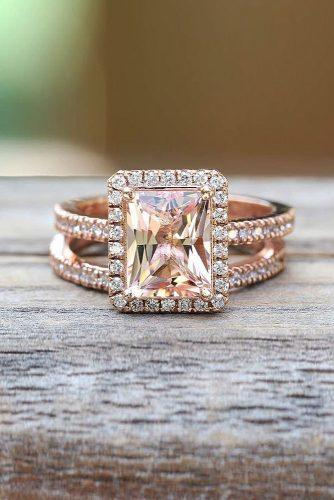 morganite engagement rings emerald cut halo wedding set rose gold