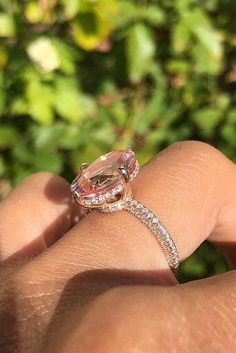 morganite engagement rings oval cut solitaire pave band cathedral