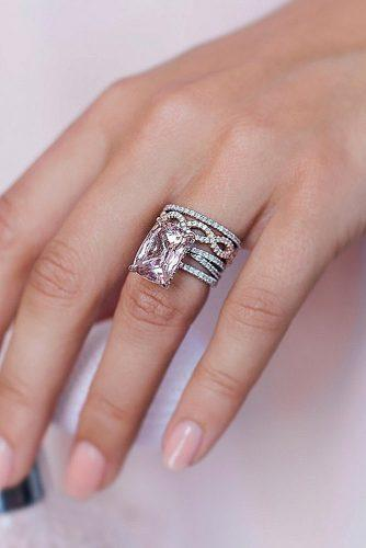 morganite engagement rings radiant cut solitaire pave band