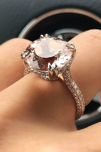morganite engagement rings round cut solitaire pave band rose gold