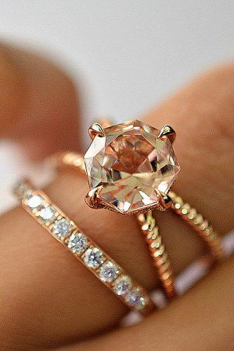 morganite engagement rings solitaire round cut pave band set