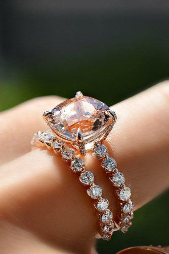 morganite engagement rings wedding set pave band solitaire