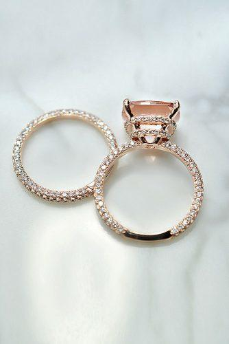 morganite engagement rings wedding set rose gold cathedral