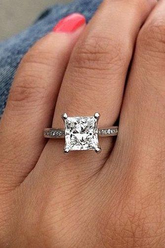 princess cut engagement rings solitaire white gold pave band