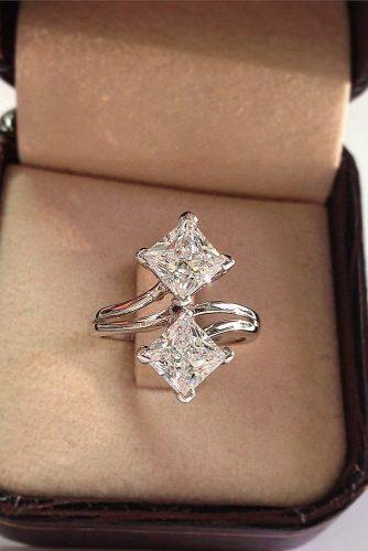 princess cut engagement rings unique two center stones diamonds gold