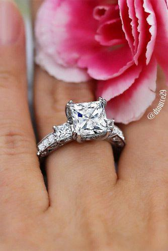 princess cut engagement rings white gold cathedral diamond modern