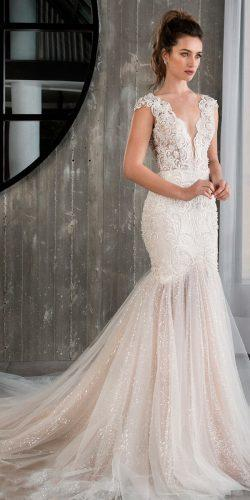 riki dalal wedding dresses 2019 lace cap sleeves v neckline mermaid with train blush
