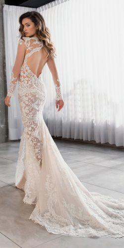 riki dalal wedding dresses 2019 lace fit and flare open back illusion long sleeve with train