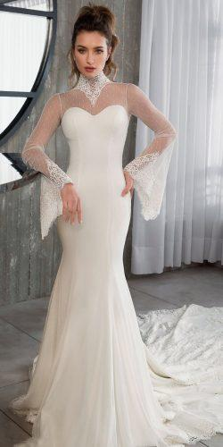 riki dalal wedding dresses 2019 mermaid illusion sweetheart neckline long sleeve turtle neck
