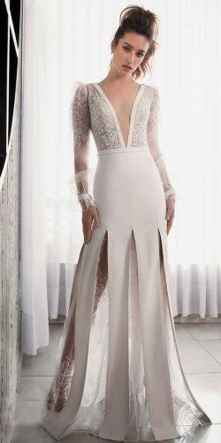 riki dalal wedding dresses 2019 plunge neckline lace long sleeve trumpet a line with overskirt