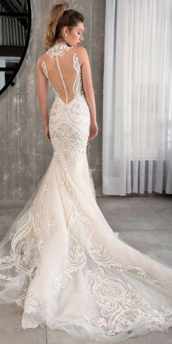 riki dalal wedding dresses 2019 trumpet lace backless high neckline turtle low back sleeveless