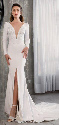 riki dalal wedding dresses 2019 vintage mermaid with slit deep v neckline long sleeves