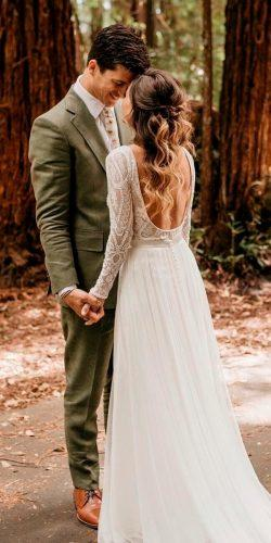 rustic wedding dresses a line low back long sleeve lace lukeandmallory
