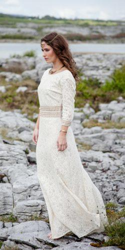 straight lace scoop neckline long sleeve celtic medieval wedding dresses celticfusiondesign