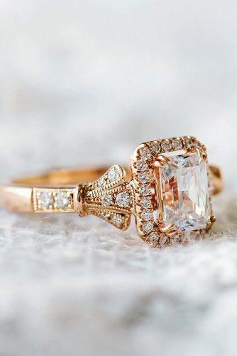 todays top engagement trends rose gold emerald cut diamond halo split shank pave band