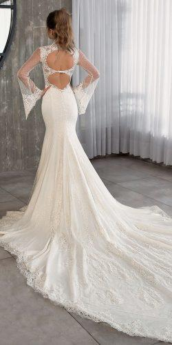 trumpet backless open back illusion long sleeve high neck riki dalal wedding dresses 2019