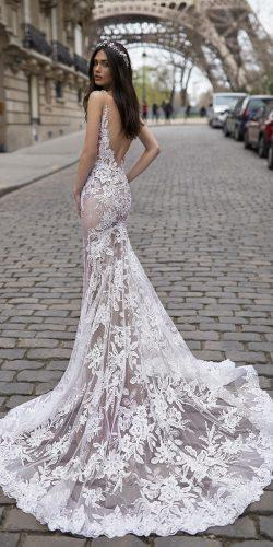 trumpet lace low back spaghetti straps with train wedding dress designers julie vino