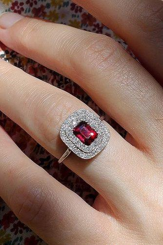 vintage engagement rings double halo ruby radiant cut