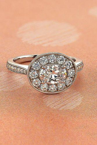 vintage engagement rings halo diamond pave band oval cut