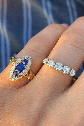 vintage engagement rings sapphire halo art deco set yellow gold