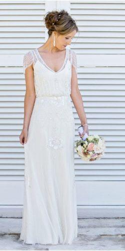 vintage inspired wedding dresses a line simple with cap sleeves v neckline jeny packham
