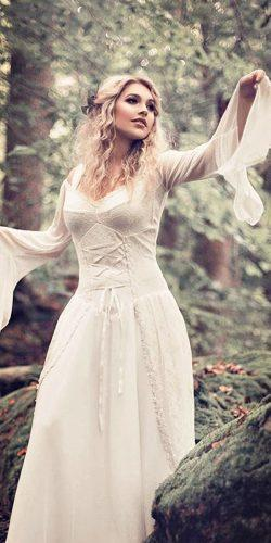 vintage lace sweetheart neck long sleeve with corset medieval wedding dresses bernadettenewberry